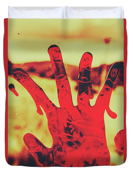Bloody Halloween Palm Print Duvet Cover