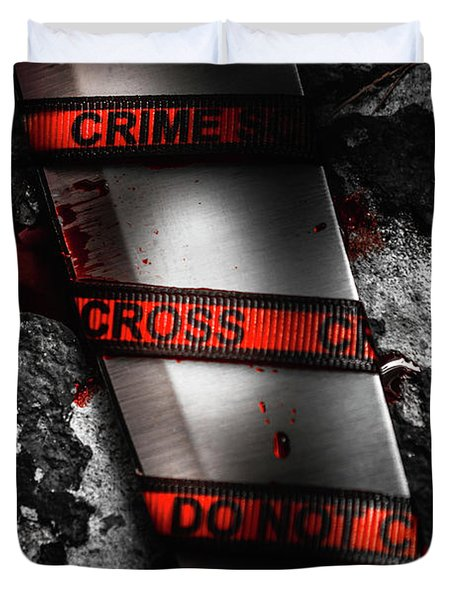 Bloody Knife Wrapped In Red Crime Scene Ribbon Duvet Cover