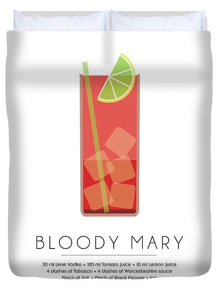 Bloody Mary Classic Cocktail - Minimalist Print Duvet Cover by Studio Grafiikka