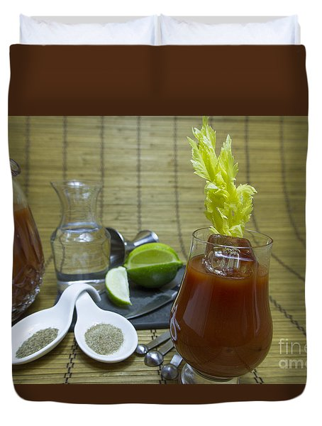 Bloody Mary Cocktail With Ingredients Duvet Cover by Karen Foley