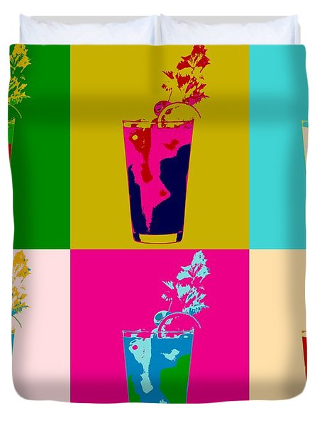 Bloody Mary Pop Art Panels Duvet Cover by Dan Sproul