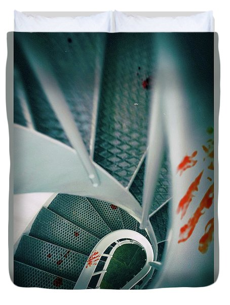 Duvet Cover featuring the photograph Bloody Stairway by Carlos Caetano