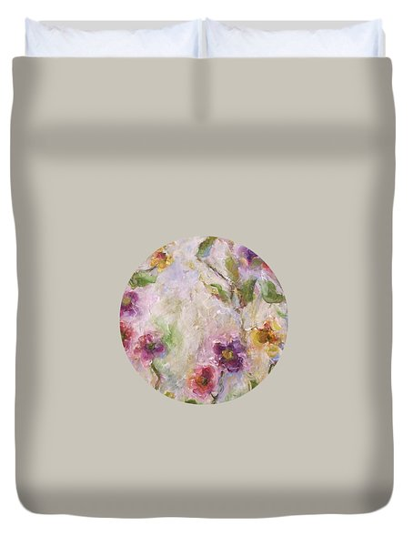 Duvet Cover featuring the painting Bloom by Mary Wolf