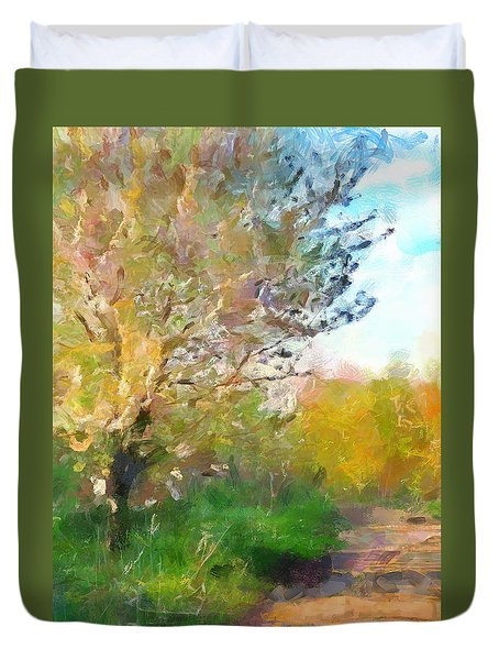 Duvet Cover featuring the painting Bloom by Wayne Pascall