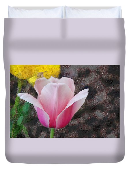 Duvet Cover featuring the mixed media Bloomin' by Trish Tritz