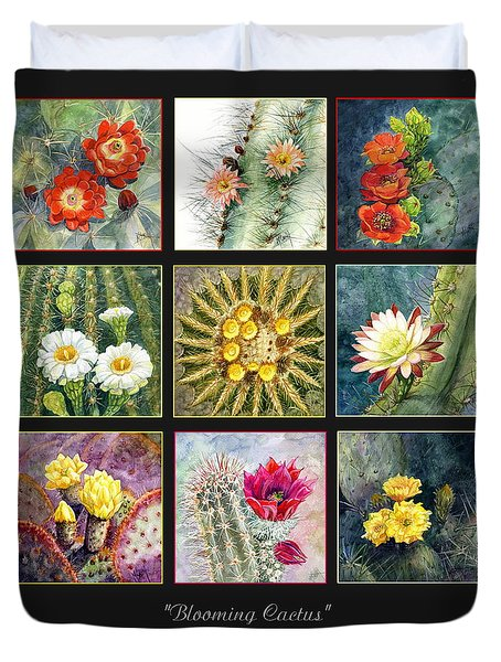Duvet Cover featuring the painting Blooming Cactus by Marilyn Smith