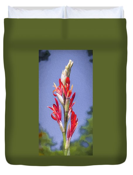 Blooming Canna Flower Duvet Cover