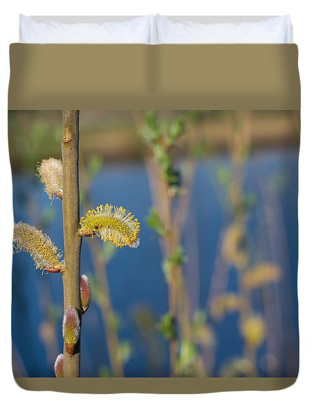 Duvet Cover featuring the photograph Blooming Catkins by Hans Engbers