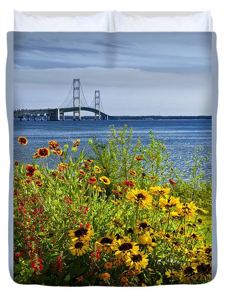 Blooming Flowers By The Bridge At The Straits Of Mackinac Duvet Cover