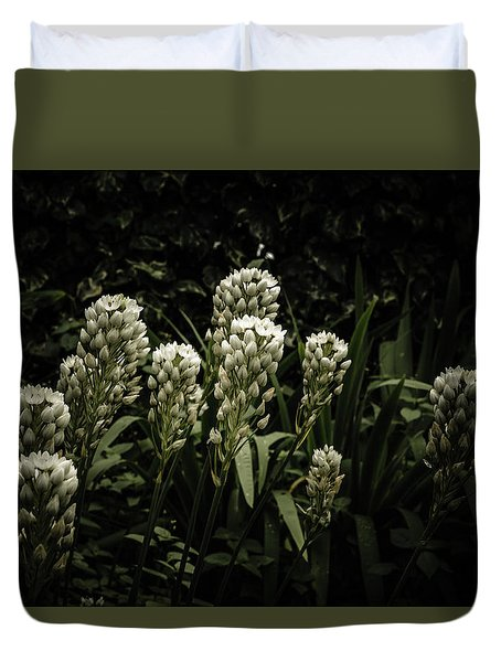 Duvet Cover featuring the photograph Blooming In The Shadows by Marco Oliveira