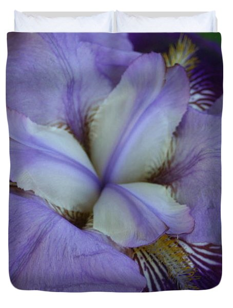 Duvet Cover featuring the digital art Blooming Iris by Barbara S Nickerson