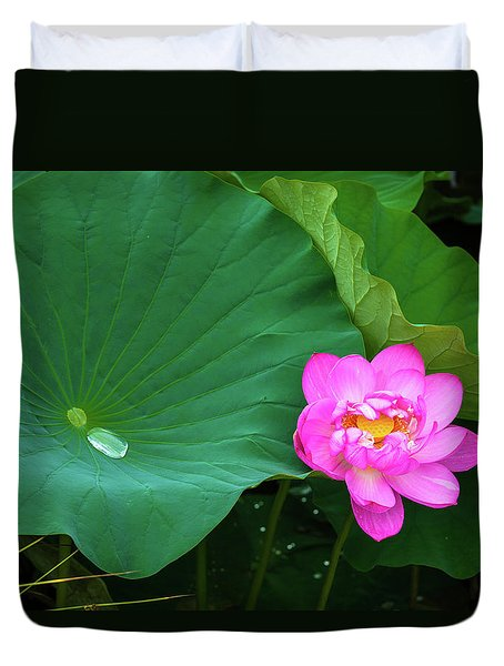 Blooming Pink And Yellow Lotus Lily Duvet Cover