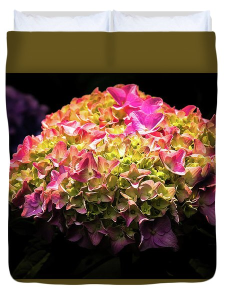 Blooming Pink Hydrangea Duvet Cover by Onyonet  Photo Studios
