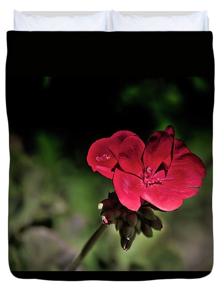 Blooming Red Geranium Duvet Cover