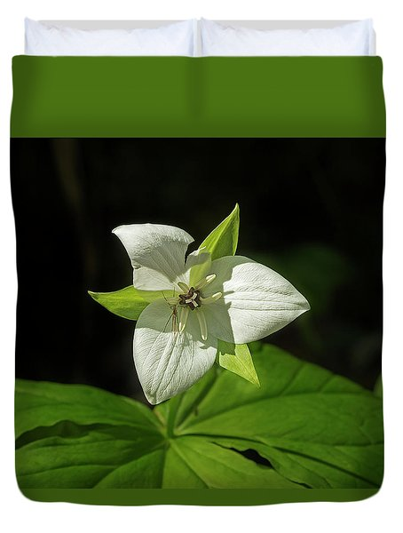 Duvet Cover featuring the photograph Blooming Trillium by Mike Eingle