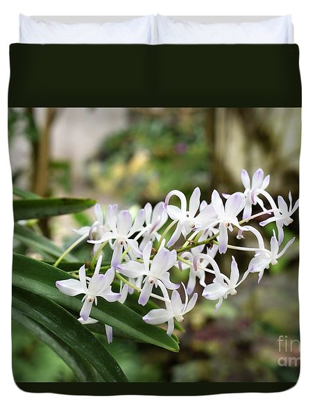 Blooming White Flower Spike Duvet Cover