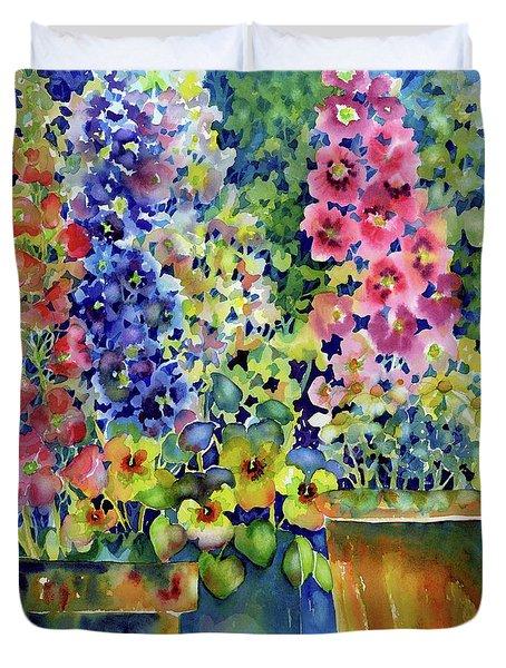 Blooms In Pots Duvet Cover