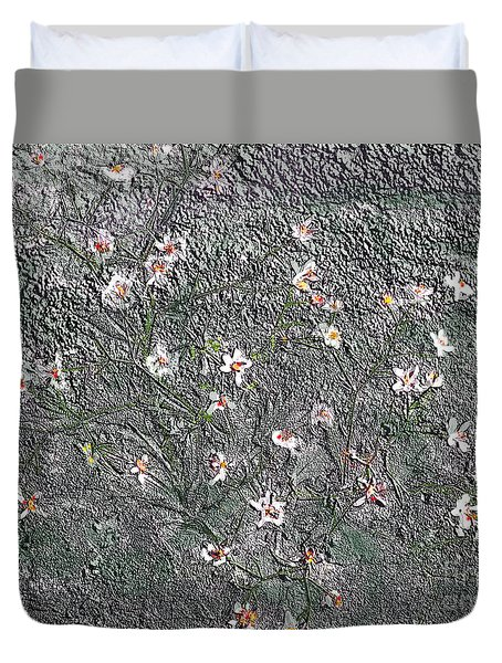 Blooms In Stone Duvet Cover by Annlynn Ward