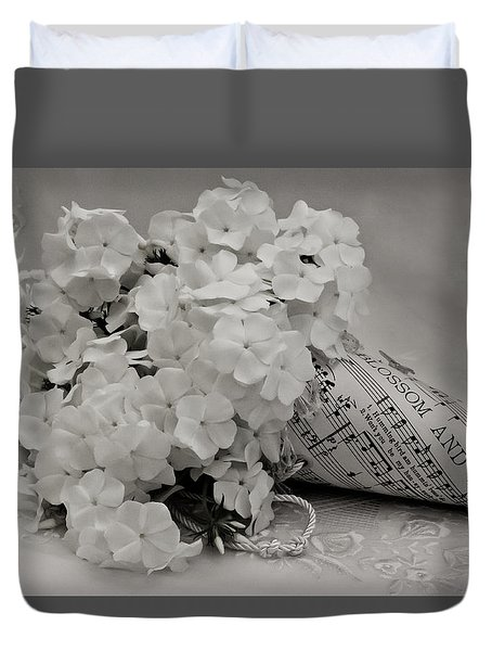 Blossom And The Bee Cornucopia  Duvet Cover by Sandra Foster