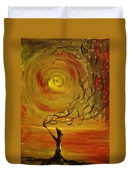Duvet Cover featuring the painting Blossom by Evelina Popilian