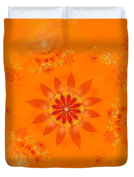 Duvet Cover featuring the digital art Blossom In Orange by Richard Ortolano