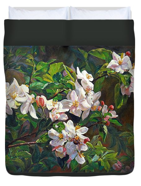 Duvet Cover featuring the painting Blossom Of My Heart by Svitozar Nenyuk