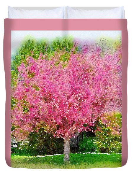 Blossoming Crabapple Tree Duvet Cover by Donald S Hall