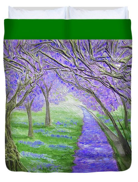 Duvet Cover featuring the mixed media Blossoms by Angela Stout