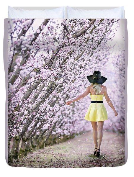 Blossoms Falling Like Snow Duvet Cover