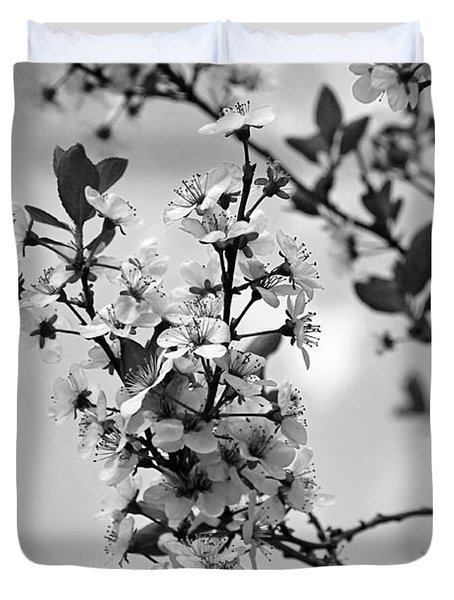 Blossoms In Black And White Duvet Cover