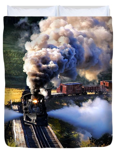 Duvet Cover featuring the photograph Blowdown On Lobato Trestle by Ken Smith