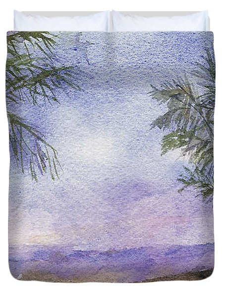 Duvet Cover featuring the painting Blowing By The Ocean by Vicki  Housel