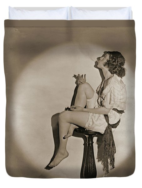 Duvet Cover featuring the photograph Blowing Smoke 1922 by Padre Art