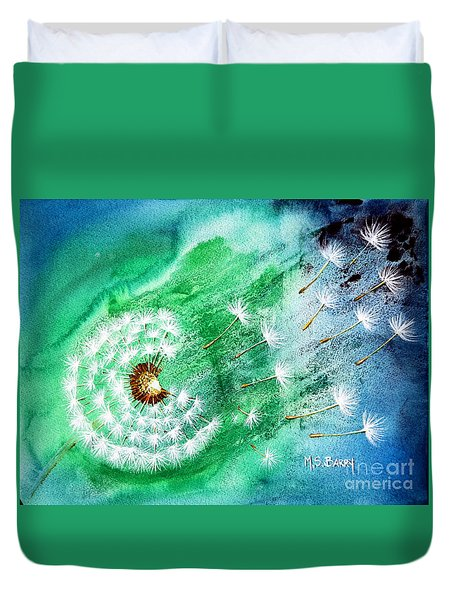 Duvet Cover featuring the painting Blown Away by Maria Barry