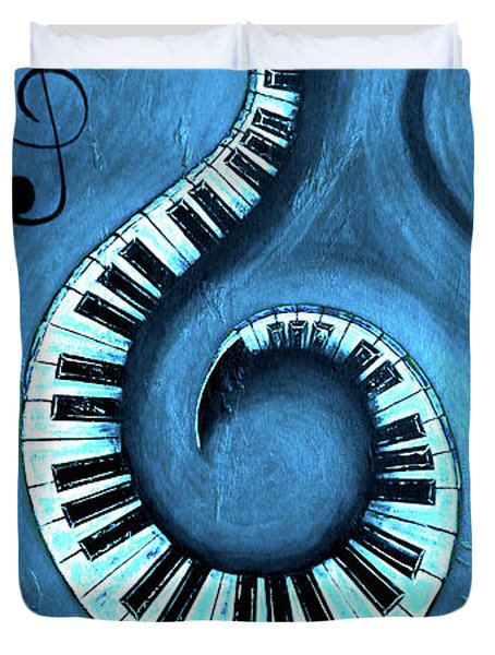 Blue 1 - Swirling Piano Keys - Music In Motion  Duvet Cover