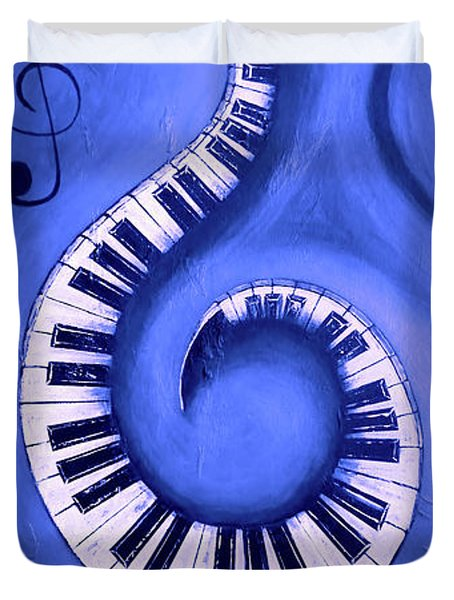 Blue 2 - Swirling Piano Keys - Music In Motion  Duvet Cover