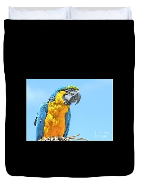Duvet Cover featuring the photograph Blue And Gold Macaw by Debbie Stahre