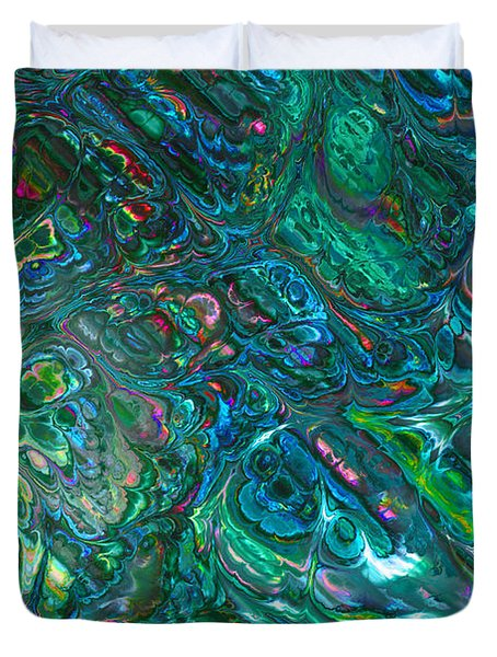 Blue Abalone Abstract Duvet Cover