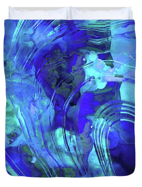 Duvet Cover featuring the painting Blue Abstract Art - Reflections - Sharon Cummings by Sharon Cummings