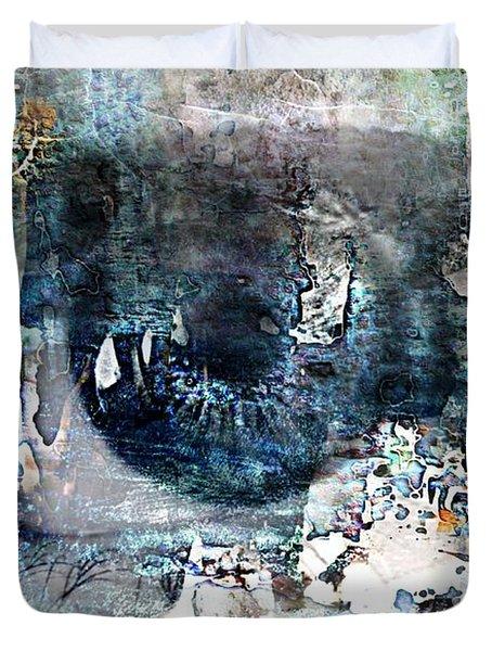 Blue Abstract Eye Duvet Cover by Lynda Payton