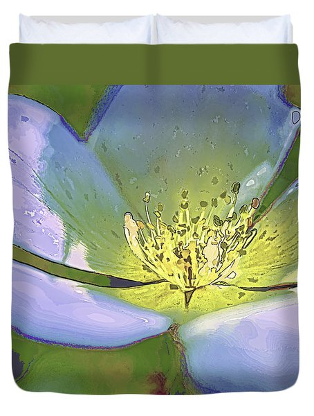 Duvet Cover featuring the photograph Blue Abstract Flower by Paula Porterfield-Izzo