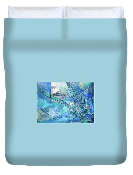 Duvet Cover featuring the painting Blue Abstract  by Robert Anderson