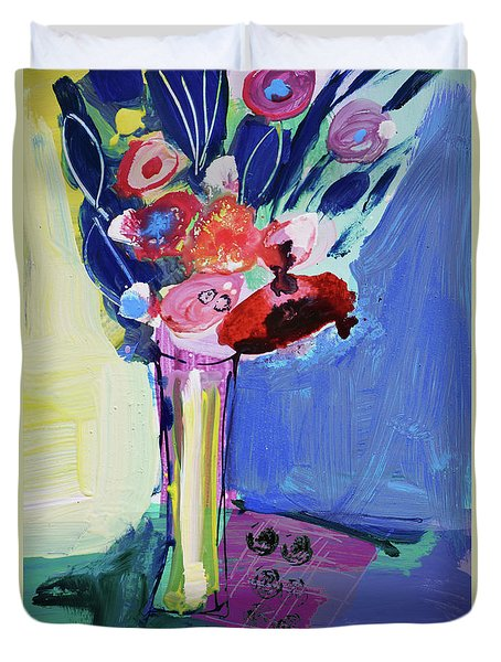 Blue Abstract Still Life With Red Flowers Duvet Cover