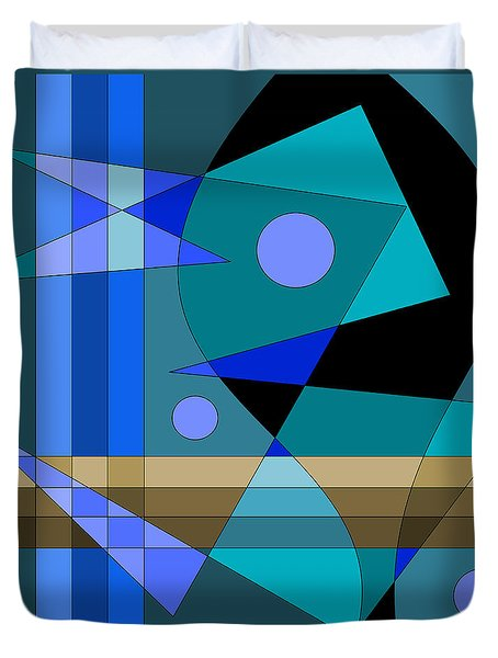Duvet Cover featuring the digital art Blue Abstract by Val Arie