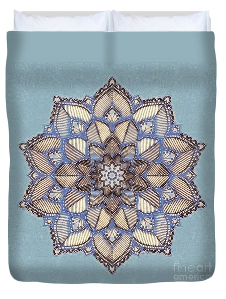 Blue And White Mandala Duvet Cover