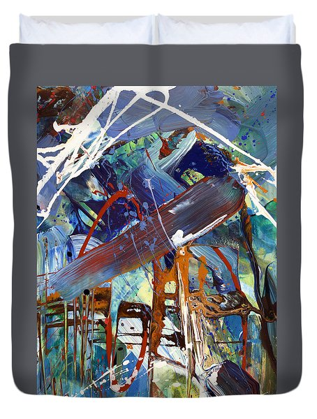 Blue Afternoon Abstract  Duvet Cover by Erika Pochybova