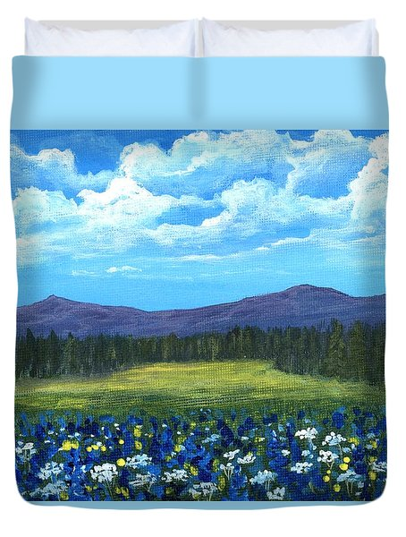 Duvet Cover featuring the painting Blue Afternoon by Anastasiya Malakhova
