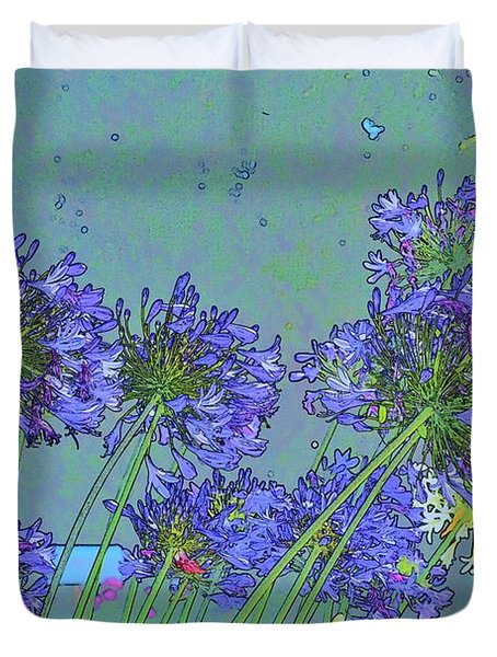 Blue Agapanthus Flowers Bright Abstract Duvet Cover