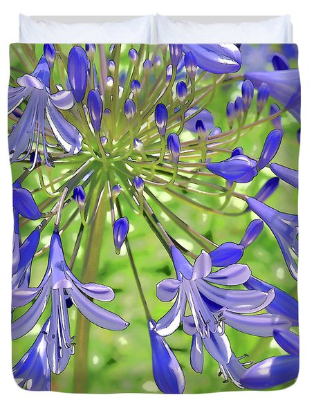 Blue Agapanthus Lily Macro Artistic I Duvet Cover