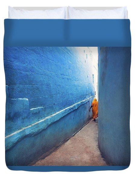 Blue Alleyway Duvet Cover by Marji Lang